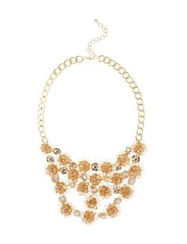 gold-flower-bib-necklace by new-look