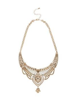 gold-filigree-bib-necklace by new-look
