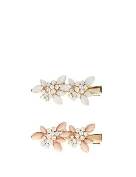 2-pack-white-and-pink-diamante-leaf-hair-slides by new-look