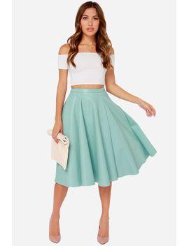 joa-sock-hop-light-blue-vegan-leather-midi-skirt by joa