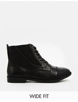 new-look-wide-fit-captain-lace-up-ankle-boots by new-look