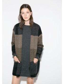 check-mohair-blend-cardigan by mango
