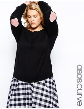 asos-curve-jumper-with-heart-elbow-patch by asos-curve