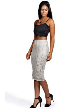 emily-sequin-scallop-lace-midi-skirt by boohoo
