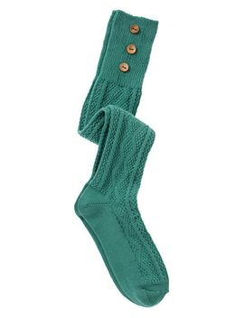 agate-green-3-button-cable-knit-boot-socks by maurices
