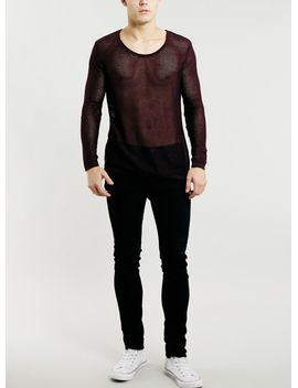 burgundy-mesh-crew-neck-sweater by topman