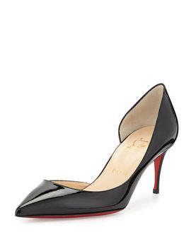 iriza-patent-red-sole-half-dorsay-pump,-black by christian-louboutin