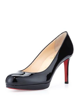 new-simple-patent-red-sole-pump,-black by christian-louboutin