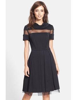 mesh-inset-jacquard-fit-&-flare-dress by pamella,-pamella-roland