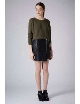 chunky-zip-wrap-skirt by topshop