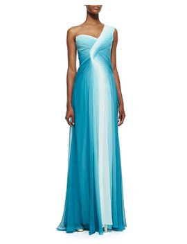 one-shoulder-draped-ombre-gown,-teal_white by monique-lhuillier