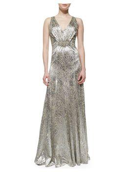 sleeveless-sequin-brooch-waist-gown by david-meister