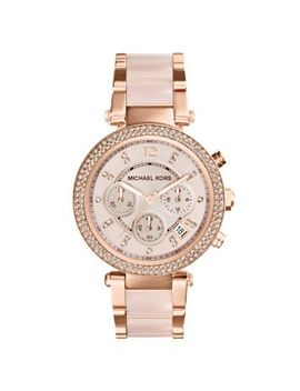 parker-rose-gold-tone-blush-acetate-watch by michael-kors