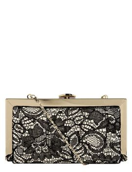 black-lace-hard-clutch-bag by dorothy-perkins