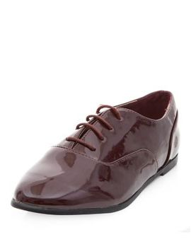 wide-fit-burgundy-patent-lace-up-brogues by new-look