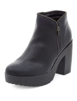 wide-fit-black-zip-trim-chunky-shoe-boots by new-look
