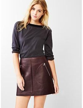 leather-zip-pocket-skirt by gap
