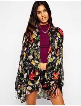 asos-kimono-in-bird-and-floral-print by asos-collection