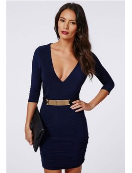 gemma-slinky-deep-v-ruched-side-bodycon-dress-navy by missguided