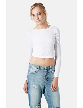 long-sleeve-crop-top by topshop
