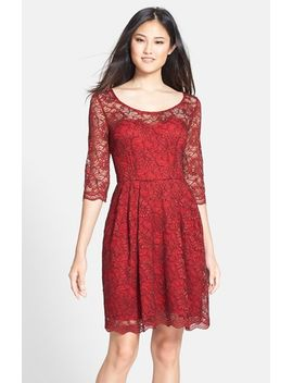 illusion-yoke-lace-fit-&-flare-dress by betsey-johnson