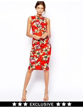 vesper-gathered-midi-dress-in-digital-floral-print by vesper