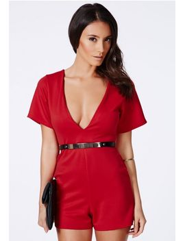 lesaka-scuba-plunge-romper-in-red by missguided
