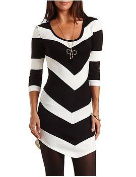 chevron-stripe-sweater-dress by charlotte-russe