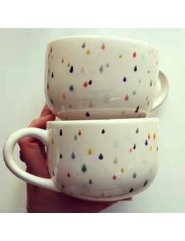 raindrop-latte-mug-set---hand-painted-with-lovely-colorful-drops by jeniferlake
