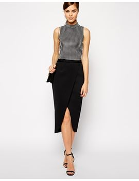 asos-wrap-pencil-skirt-in-bonded-scuba by asos-collection