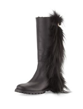 tall-fur-fringe-leather-boot,-black by fendi