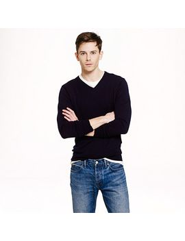 rugged-cotton-v-neck-sweater by jcrew