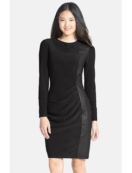 faux-leather-panel-ponte-sheath-dress by vince-camuto