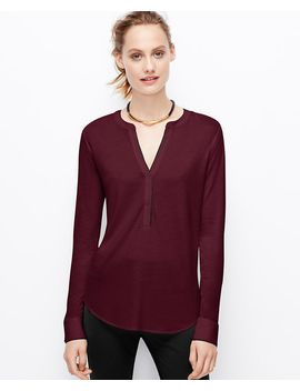 mixed-media-split-neck-top by ann-taylor