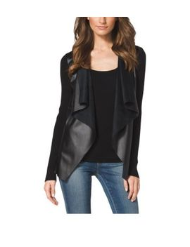 leather-front-cotton-blend-cardigan-,-petite by michael-kors