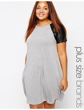 club-l-plus-size-swing-dress-with-pu-sleeves by asos-brand