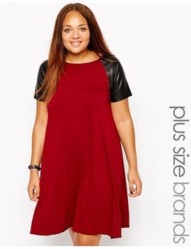 club-l-plus-size-swing-dress-with-pu-sleeves by plus-size-dress