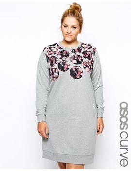 asos-curve-exclusive-sweat-dress-with-floral-circles by asos-curve