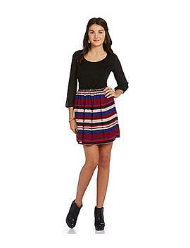 takara-3_4-sleeve-blouson-striped-dress by generic