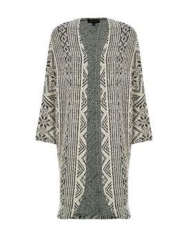 black-fine-knit-fairisle-cocoon-cardigan by new-look