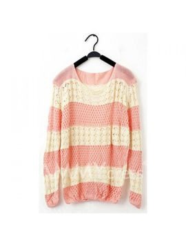 sweet-style-loose-fitting-color-splicing-openwork-fish-net-knitting-sweaters-for-women by sammy-dress