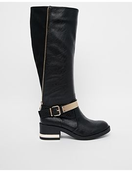 river-island-gold-plate-knee-riding-boots by river-island
