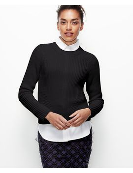 petite-cropped-stitchy-pullover by ann-taylor