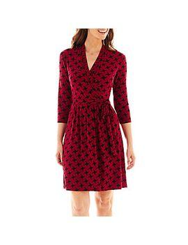 liz-claiborne-3_4-sleeve-faux-wrap-dress by liz-claiborne-3_4-sleeve-faux-wrap-dress