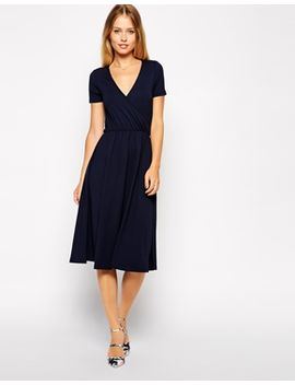 asos-midi-skater-dress-with-wrap-front-and-short-sleeves by asos-collection