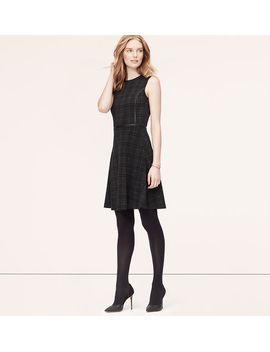 faux-leather-trim-plaid-dress by loft