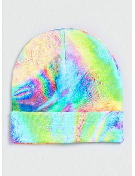 neon-oil-slick-printed-beanie by topman