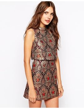 lavish-alice-gold-baroque-cropped-mini-dress by lavish-alice