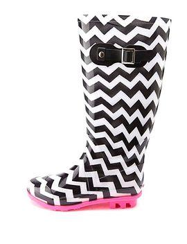 rubber-chevron-print-rain-boots by charlotte-russe