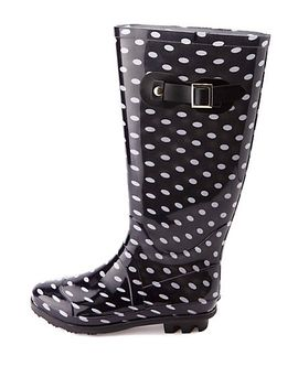 rubber-polka-dot-rain-boots by charlotte-russe